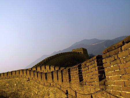 The Great Wall of China (Mu Tian Yu) under a setting sun. February 2007, Chinese New Year. Stock Photo - 799048
