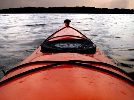 drenched: Point of view from kayak cockpit. Stock Photo