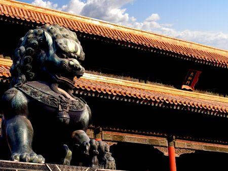 forbidden city: Illustrated photograph of a temple inside Forbidden City in Beijing, China.