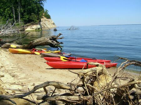 beached: Kayaks beached on Fossil Island, Westmoreland State Park, Virginia.