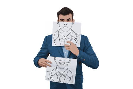 Illustration d'un homme d'affaires tenant deux papiers avec différentes émotions dessinées, l'un se cachant la moitié du visage avec une expression en colère et l'autre avec un visage heureux Changer de masque pour masquer le concept d'identité. Banque d'images - 77452891