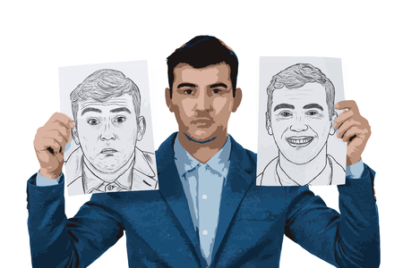 personality development: Illustration of depressed businessman holding two white papers with different emotions drawn. Change your mask between confused and smiling face to hide the real expression.