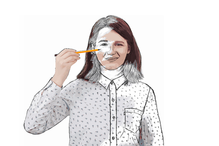 Illustration of smiling businesswoman, holding a pencil pointed to his face trying to draw a sketch of her emotion. Create yourself idea, self development concept isolated on white background.