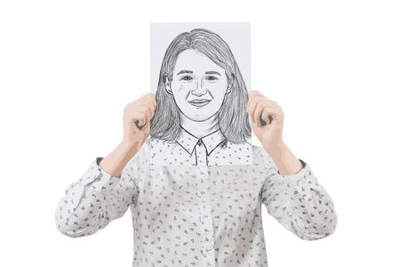 Illustrazione di giovane imprenditrice che copre il viso con un white paper con uno schizzo di espressione sorridente, come una maschera per nascondere la sua vera emozione. Crea un nuovo concetto di identità. Archivio Fotografico - 77452900