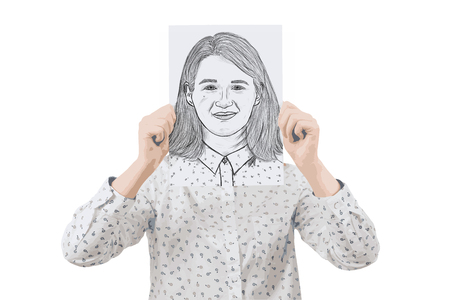 Illustration of young businesswoman covering her face using a white paper with a sketch of smiling expression, like a mask to hide her real emotion. Create new identity concept.