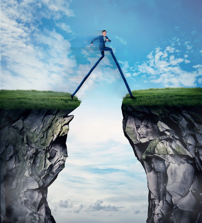 Fantasy business concept as a businessman with long legs run and leap over a chasm obstacle. Symbol of adaptation to changes, finding solution and overcome to solve problems.
