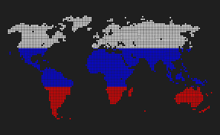 Dotted world map in russia flag colors isolated on grey background dotted world map in russia flag colors isolated on grey background foto de archivo gumiabroncs Gallery