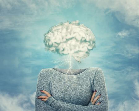 Brainstorm concept as woman has invisible face and cloud shaped brain instead of head.