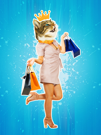 Contemporary art collage full length portrait happy kitten headed woman with gold crown, leg bent back carrying shopping bags. Modern style pop art zine culture concept. Funny cat shopaholic singing. Reklamní fotografie