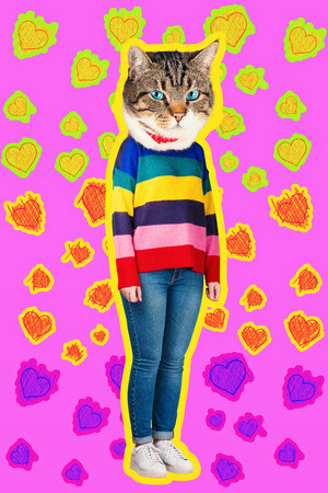 Confidence and charisma contemporary art collage full length portrait of happy kitten headed woman wearing colorful sweater. Modern style zine culture concept. Funny cat blue eyes and hearts sketch.