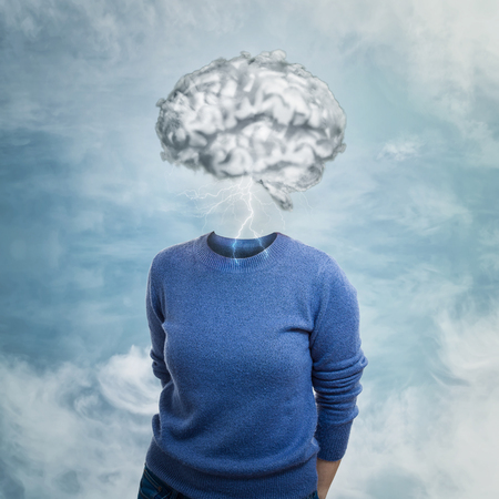 Brainstorm concept as woman has invisible face and cloud shaped brain instead of head. Incognito introvert hide identity. Head in the clouds person social mask. Mental disorder psychological concept.