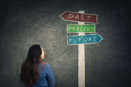 Rear view woman in front of blackboard looking at a signpost with arrows showing past, present and future. Lost in time colorful road sign, destiny evolution concept of business aspirations. Standard-Bild - 118439115