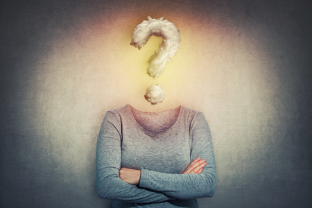 Surreal image as woman with crossed hands and invisible face has a question mark cloud instead of head. Social mask for hiding identity. Incognito introvert person, anonymity concept. Foto de archivo
