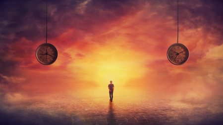 Surreal scene confident man walking on a pavement road and two suspended clocks on his back hanging from the sunset sky showing different hours. Self overcome, time travel concept, achieving success.