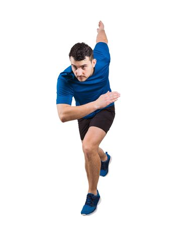 Determined caucasian man runner standing in running position looking ahead confident. Young guy sprinter wearing black and blue sportswear isolated over white background. Stock Photo