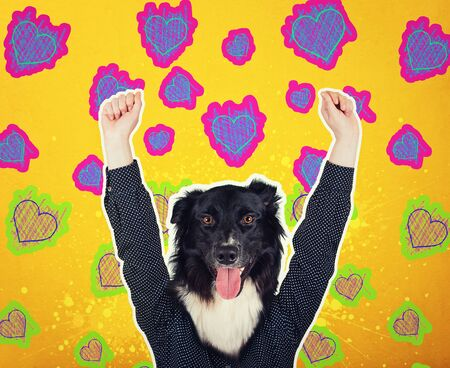 Contemporary art collage full length portrait positive dog headed woman hipster. Modern style pop art zine culture concept. Funny border collie puppy head with colorful hearts sketch background. Imagens