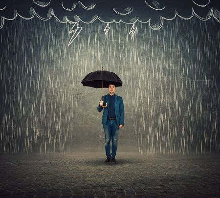 Businessman standing under umbrella as protection of a storm sketch. Insurance agent, business security concept. Find solutions to escape crisis situations.