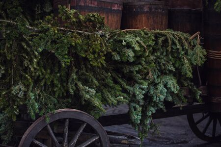 Countryside vintage christmas background with an old wooden cart loaded with wine barrels and fir trees decorations. Ready to start the fair for winter holidays, beautiful retro atmosphere celebration