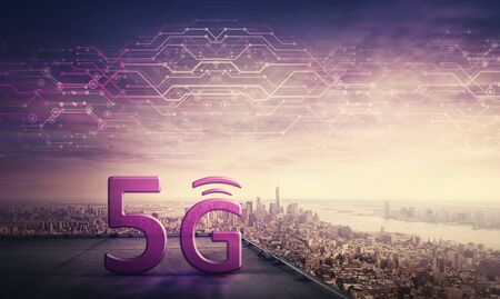5G high speed network connection, icon hologram on the rooftop of a skyscraper over city horizon. New generation global network symbol, excellent signal coverage concept. Safe internet marketing.