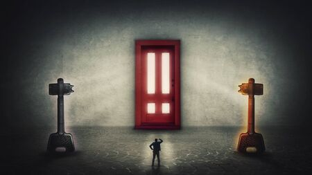 Dilemma concept, man has two options, choosing the magic key to unlock the gigantic door. Difficult decision, correct choice, select right or left. Entrance to unknown, career development opportunity.