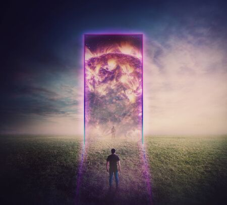 Confident man standing in front of ladder going up to the sky reaching an arrow shaped cloud. Stairway to heaven concept. Business opportunity, concept of career development. Way to future succesConfident man standing in front of a giant gate, neon portal leading to another reality. Magic tunnel entrance glowing ultraviolet. Space and time travel, teleportation door, mystic surreal scene.s. Stockfoto
