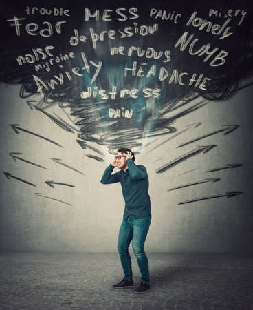 Stressed businessman feels headache, keeps hands to head screaming and clenching teeth. Person suffering pain, mental health problems. Schizophrenia, dementia disease. Anxiety, migraine and depression