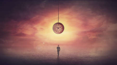 Surreal scene as confident businesswoman stands on the in front of a huge clock hanging from the sunset sky. Time travel concept, achieving success. The importance of time in the modern world.