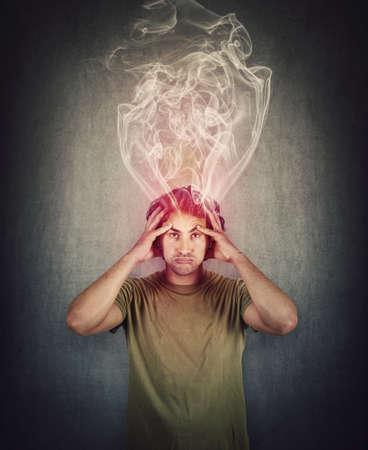 Fatigue and annoyed man, feels like mind is boiling as dense steam comes out of his head. Brain burning and mental explosion with smoke due fever and migraine. Exhausted person suffering anxiety.