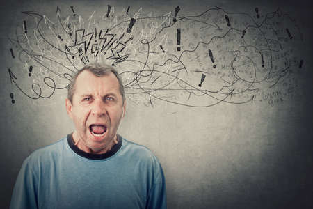 Angry middle aged man screaming and yelling. Negative human emotion, bully senior male reacting furious, looks frustrated and mad. Irritated and annoyed adult, blaming or scolding. Sketch mess in head