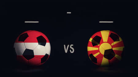 Austria vs North Macedonia football matchday announcement. Two soccer balls with country flags, showing match infographic, isolated on black background with scoreboard copy space. Standard-Bild