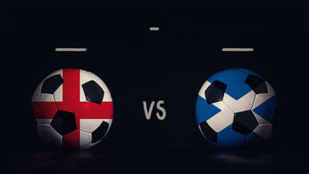 England vs Scotland football matchday announcement. Two soccer balls with country flags, showing match infographic, isolated on black background with scoreboard copy space. Standard-Bild