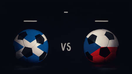 Scotland vs Czech Republic football matchday announcement. Two soccer balls with country flags, showing match infographic, isolated on black background with scoreboard copy space. Standard-Bild