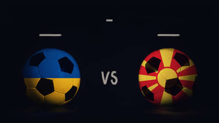 Ukraine vs North Macedonia football matchday announcement. Two soccer balls with country flags, showing match infographic, isolated on black background with scoreboard copy space.