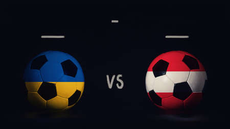 Ukraine vs Austria football matchday announcement. Two soccer balls with country flags, showing match infographic, isolated on black background with scoreboard copy space.