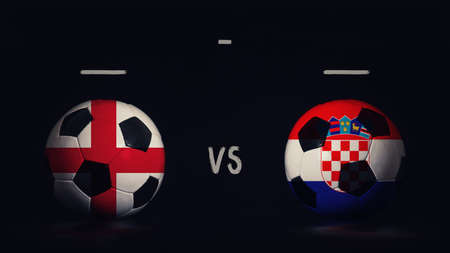 England vs Croatia football matchday announcement. Two soccer balls with country flags, showing match infographic, isolated on black background with scoreboard copy space. Standard-Bild