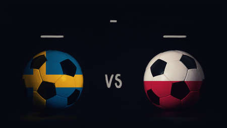 Sweden vs Poland football matchday announcement. Two soccer balls with country flags, showing match infographic, isolated on black background with scoreboard copy space. Standard-Bild