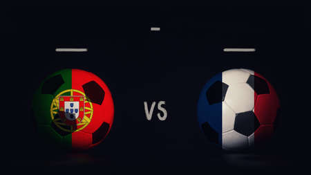 Portugal vs France football matchday announcement. Two soccer balls with country flags, showing match infographic, isolated on black background with scoreboard copy space. Standard-Bild