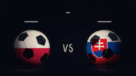 Poland vs Slovakia football matchday announcement. Two soccer balls with country flags, showing match infographic, isolated on black background with scoreboard copy space.