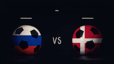 Russia vs Denmark football matchday announcement. Two soccer balls with country flags, showing match infographic, isolated on black background with scoreboard copy space.
