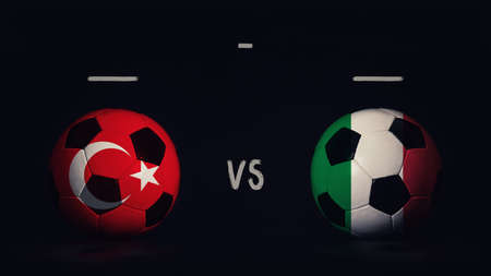 Turkey vs Italy football matchday announcement. Two soccer balls with country flags, showing match infographic, isolated on black background with scoreboard copy space.