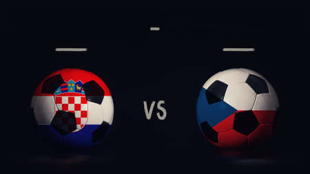 Croatia vs Czech Republic football matchday announcement. Two soccer balls with country flags, showing match infographic, isolated on black background with scoreboard copy space. Standard-Bild