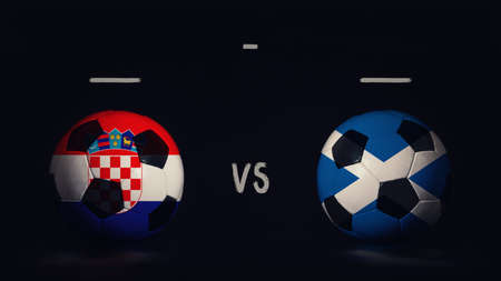 Croatia vs Scotland football matchday announcement. Two soccer balls with country flags, showing match infographic, isolated on black background with scoreboard copy space. Standard-Bild