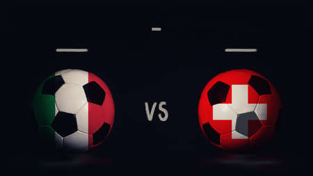 Italy vs Switzerland football matchday announcement. Two soccer balls with country flags, showing match infographic, isolated on black background with scoreboard copy space.