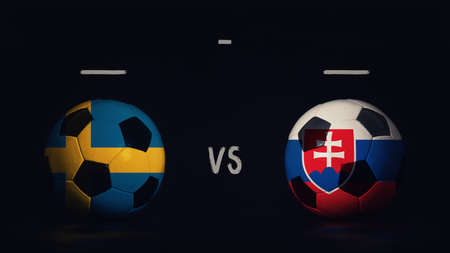 Sweden vs Slovakia football matchday announcement. Two soccer balls with country flags, showing match infographic, isolated on black background with scoreboard copy space.