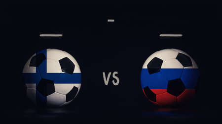 Finland vs Russia football matchday announcement. Two soccer balls with country flags, showing match infographic, isolated on black background with scoreboard copy space. Standard-Bild