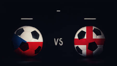 Czech Republic vs England football matchday announcement. Two soccer balls with country flags, showing match infographic, isolated on black background with scoreboard copy space. Standard-Bild