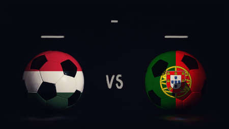 Hungary vs Portugal football matchday announcement. Two soccer balls with country flags, showing match infographic, isolated on black background with scoreboard copy space.