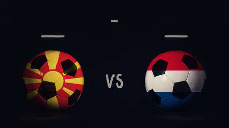 North Macedonia vs Netherlands football matchday announcement. Two soccer balls with country flags, showing match infographic, isolated on black background with scoreboard copy space. Standard-Bild