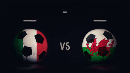 Italy vs Wales football matchday announcement. Two soccer balls with country flags, showing match infographic, isolated on black background with scoreboard copy space.
