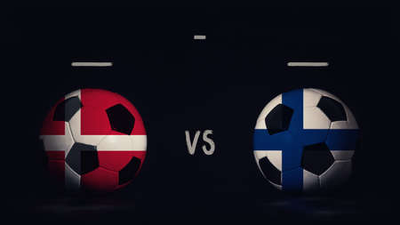 Denmark vs Finland football matchday announcement. Two soccer balls with country flags, showing match infographic, isolated on black background with scoreboard copy space.